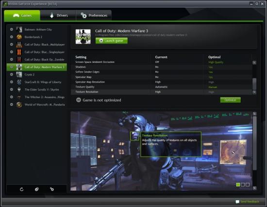 NVIDIA lanza la Beta abierta de su GeForce Experience 1.0.1