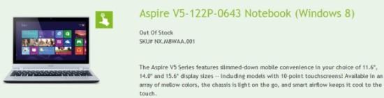 """Acer integra el soc AMD A6-1450 """"Temash"""" en su Aspire V5-122P-0643"""