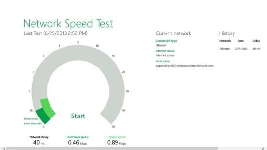 Microsoft Network Speed Test para Windows 8