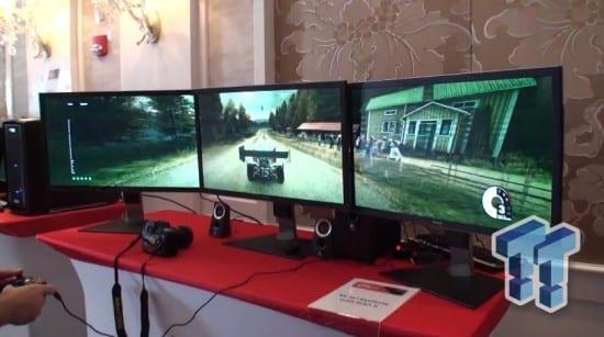 AMD muestra un crossfire de R9 290X corriendo Dirt 3 en tres monitores 4K