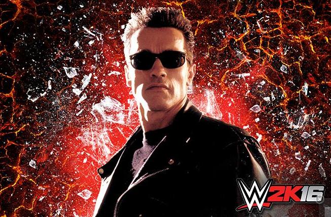 Arnold Schwarzenegger como Terminator en WWE 2K16