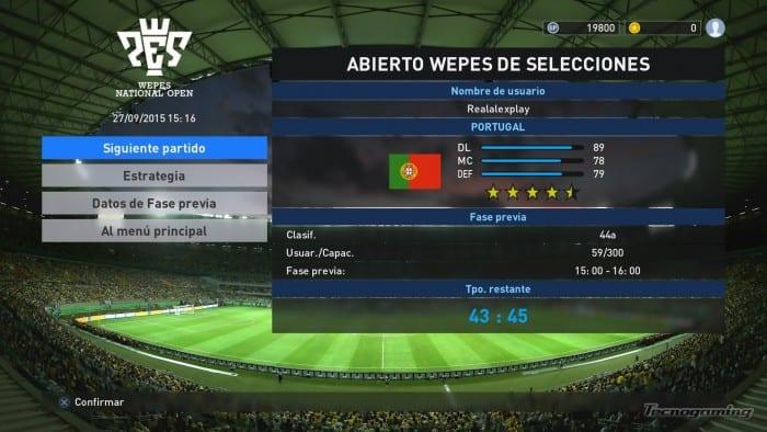 A punto de jugar un partido en modo online entre selecciones.