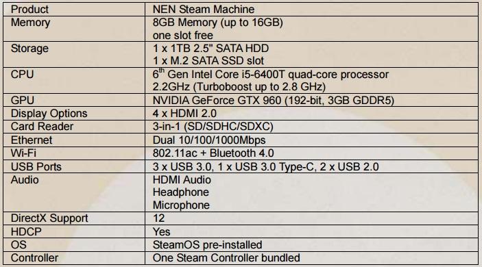 zotac steam machine sn970 specs