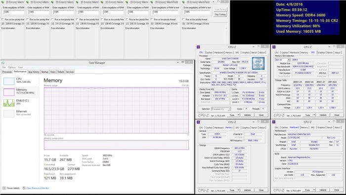 Las memorias trabajando junto a un ASUS Z170-DELUXE y un Intel Core i5 6600K