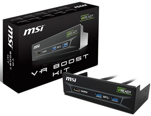 MSI también introduce su VR Boost Kit, una propuesta para que la realidad virtual sea más amigable al proveer todas las conexiones en un panel frontal de 5.25.